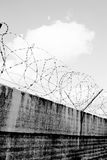 Grey wall and barbwire Stock Photography