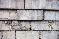 Grey wall constructed of the concrete blocks Royalty Free Stock Photo