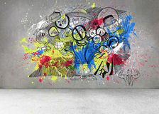 Grey wall with illustrations and splashes Royalty Free Stock Photography