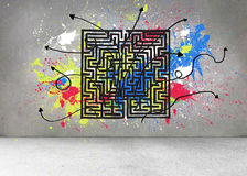 Grey wall with maze and splashes Stock Images