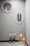 Wall with mirrors. Grey wall with mirrors and lantern stock images