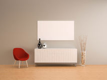 Grey wall with red armchair living room-interior Stock Photos