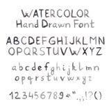 Grey Watercolor Hand Drawn Font scuro Fotografie Stock