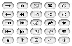 Grey Web Buttons. Collection of web buttons in a stylish grey colour Stock Photo