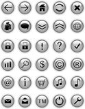 Grey web icons, buttons. For sites Stock Images
