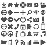 Grey Web Icons Set on white Stock Photo