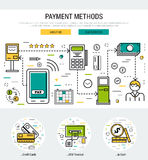 Grey web page header template - payment methods. Vector white and grey colors header template for payment methods banking operation. First screen of the web site Stock Photo