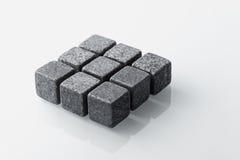 Grey whiskey stones set of 9. Royalty Free Stock Photos