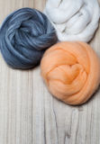 Grey, White, Apricot Felting Wool Stock Images