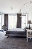 Grey and white bedroom Royalty Free Stock Image