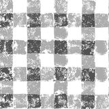 Grey and white checkered grunge gingham seamless pattern, vector Royalty Free Stock Images