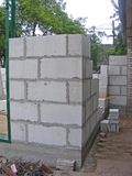 Grey / white concrete blocks / breeze block / building of garage Royalty Free Stock Photography