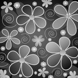 Grey and white flowers. Illustration of retro styled  grey and white flowers on black background Stock Images