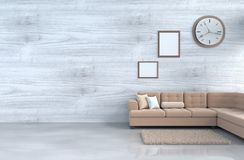 Grey-White living room decor with grey sofa. Grey-White living room decor with brown sofa, wall clock, white wood wall, window,book,pillow, grey white cement Royalty Free Stock Photo
