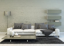 Grey and White Living Room with Modern Furniture Royalty Free Stock Photography
