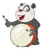 Illustration of a Cute Panda Drummer. Cartoon Character. It is grey a white panda the musician Royalty Free Stock Image