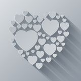 Grey and white paper heart shape on gray Royalty Free Stock Image