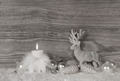 Grey, white silver christmas decoration with one burning candle Stock Image