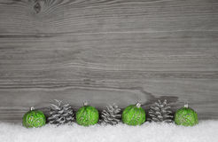Grey, white and silver wooden background with christmas decorati Stock Image