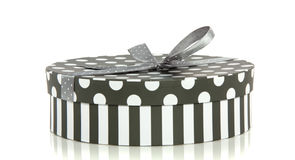 A grey white striped dotted giftbox Stock Photo