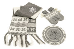 Grey winter accessories isolated on white background. Royalty Free Stock Photos