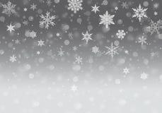 Grey Winter Background met sneeuwvlokken royalty-vrije stock afbeelding