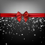 Grey winter background with red bow. Grey holiday winter background with snow and red satin bow. Vector illustration Royalty Free Stock Photos