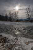 Grey winter day near the river Royalty Free Stock Photography