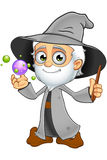 Grey Wizard anziano - con Crystal Balls illustrazione di stock
