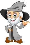 Grey Wizard idoso - apontando ilustração stock