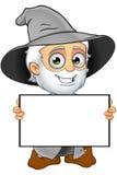 Grey Wizard idoso - guardando a placa vazia ilustração do vetor