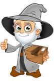 Grey Wizard idoso - guardando um pacote ilustração royalty free