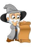 Grey Wizard idoso - olhando um rolo ilustração stock
