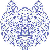 Grey Wolf Head Mono Line Stock Photos
