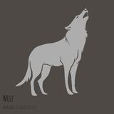 Grey Wolf Silhouette Royalty Free Stock Photos