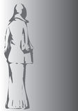 Grey woman. Rear view of edwardian woman on grey background Royalty Free Stock Images
