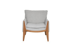 Grey and wood  Color Sofa Armchair isolated on white background Stock Photography