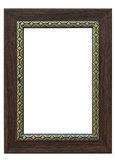 Grey wood picture frame isolated white Royalty Free Stock Photos