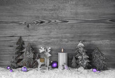 Free Grey Wooden Background With Handmade Reindeer, Trees And Violet Royalty Free Stock Photo - 57034385