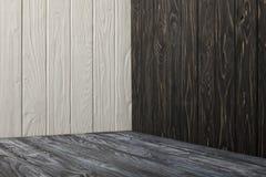 Grey wooden floor. And wooden walls stock image