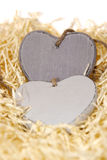 Grey wooden love hearts with copy space Stock Image