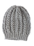 Grey wool hat isolated on white . Stock Images