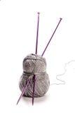 Grey wool and needles Stock Photo