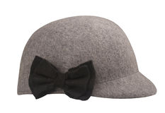 Grey wool riding hat. With a black bow-knot isolated on white background Stock Photo