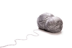 Grey wool. On white background Stock Photo