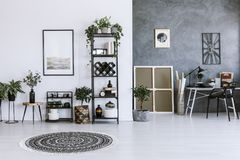 Grey workspace interior with poster stock illustration