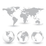 Grey World Map and Globes vector Illustration Stock Image