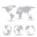 Grey World Map och jordklotvektorillustration Fotografering för Bildbyråer