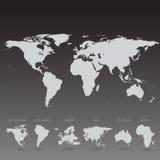 Grey World Map på svart bakgrundsillustration Royaltyfri Fotografi