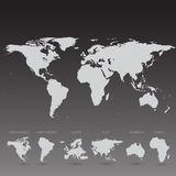 Grey World Map sur l'illustration noire de fond Photographie stock libre de droits